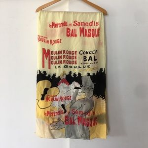 RARE vintage silk Moulin Rouge scarf. 60x20 in